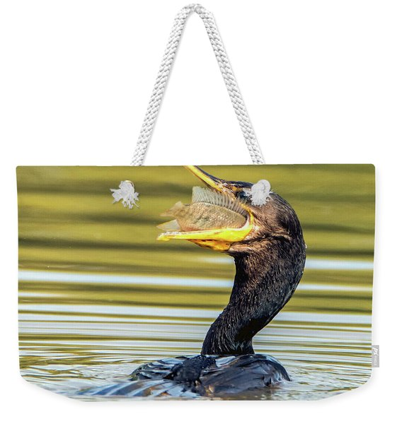Cormorant With Fish 0977-111217-1cr Weekender Tote Bag
