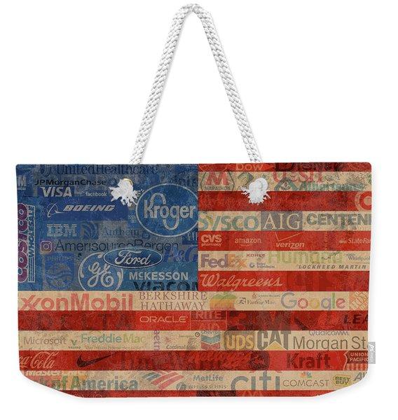 Corporate America Fortune 500 Companies Usa Flag Weekender Tote Bag