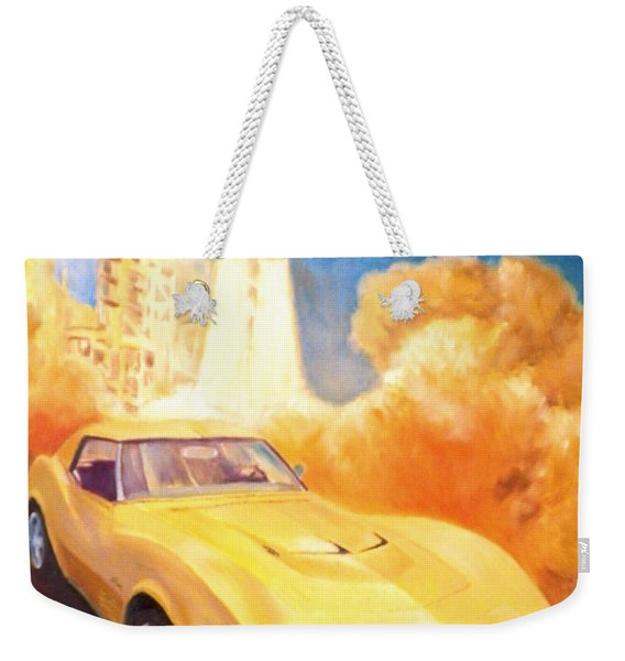 Corvette With Space Shuttle Weekender Tote Bag