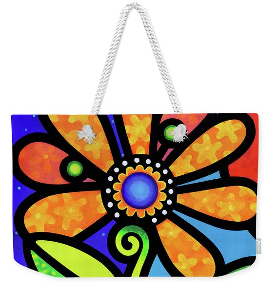 Cosmic Daisy In Yellow Weekender Tote Bag