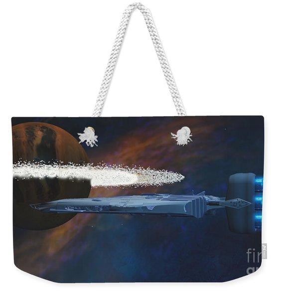 Cosmic Spaceship Weekender Tote Bag