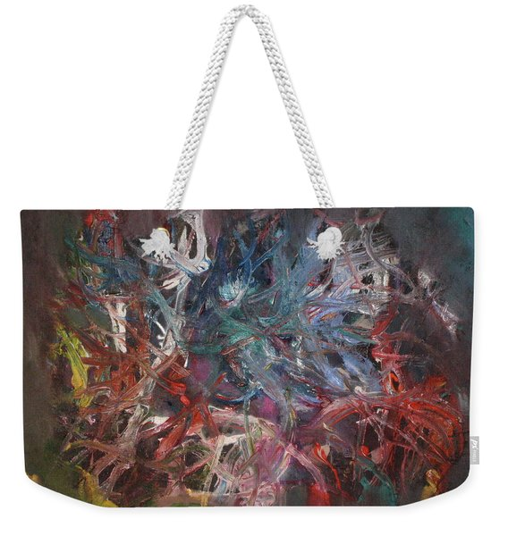 Weekender Tote Bag featuring the painting Cosmic Web by Michael Lucarelli