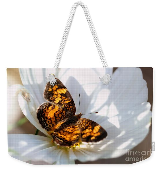 Pearl Crescent Butterfly On White Cosmo Flower Weekender Tote Bag
