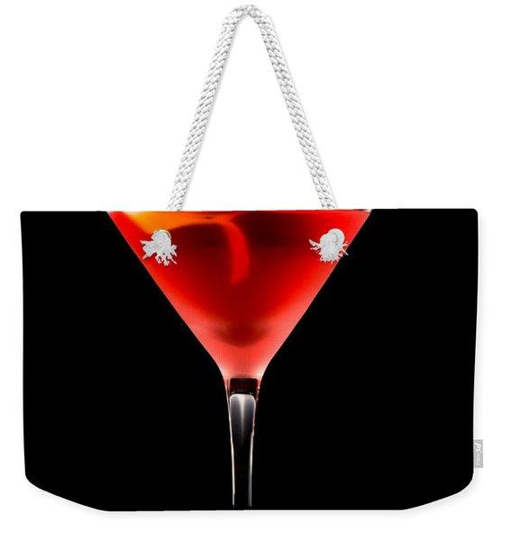 Cosmopolitan Cocktail In Front Of A Black Background  Weekender Tote Bag