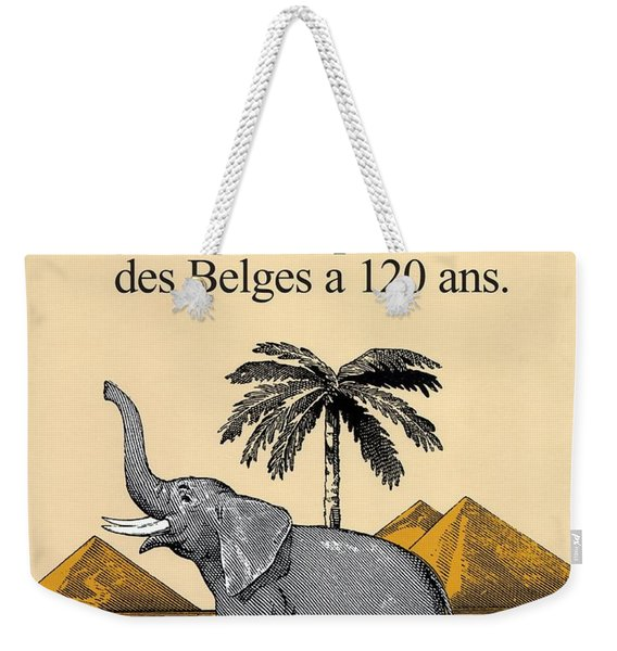 Cote D'or Chocolate - Belgian Chocolate - Elephant Near The Egyptian Pyramids - Vintage Poster Weekender Tote Bag