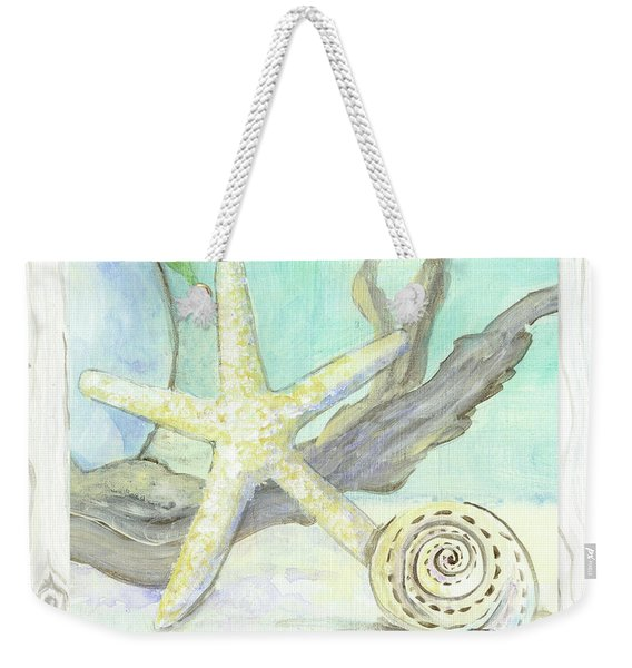 Cottage At The Shore 7 Starfish Driftwood And Seashell Over Wood Weekender Tote Bag