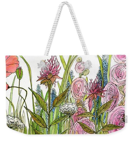 Cottage Hollyhock Garden Weekender Tote Bag