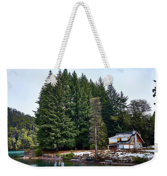 Little Cottage And Pines In The Argentine Patagonia Weekender Tote Bag
