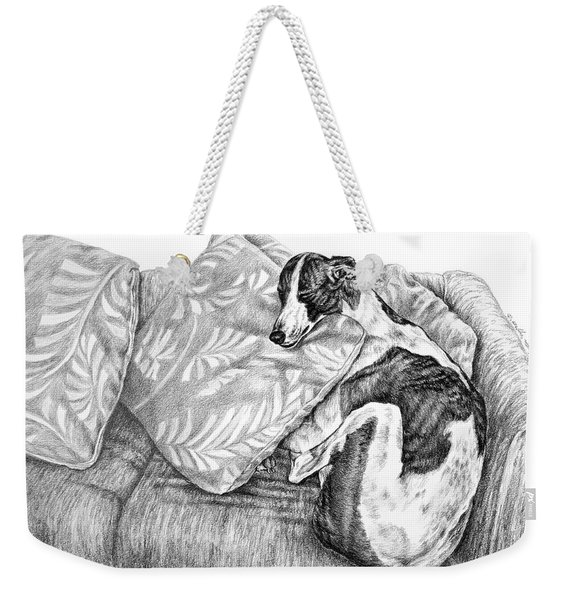 Couch Potato Greyhound Dog Print Weekender Tote Bag