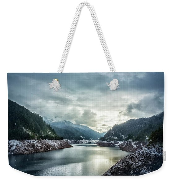 Cougar Reservoir On A Snowy Day Weekender Tote Bag