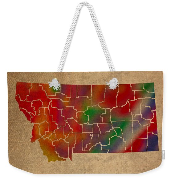 Counties Of Montana Colorful Vibrant Watercolor State Map On Old Canvas Weekender Tote Bag