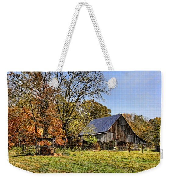 Country Barn And A Pink Flamingo By H H Photography Of Florida Weekender Tote Bag