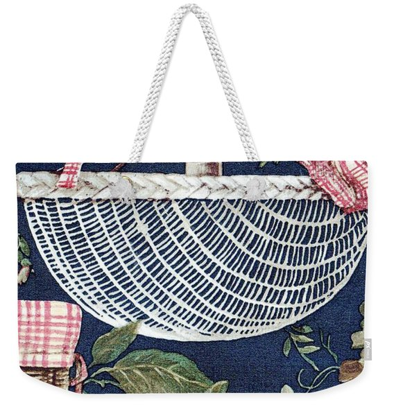Weekender Tote Bag featuring the drawing Country Basket by Writermore Arts