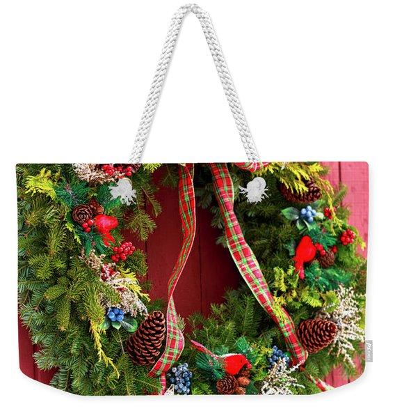 Country Christmas Wreath Weekender Tote Bag