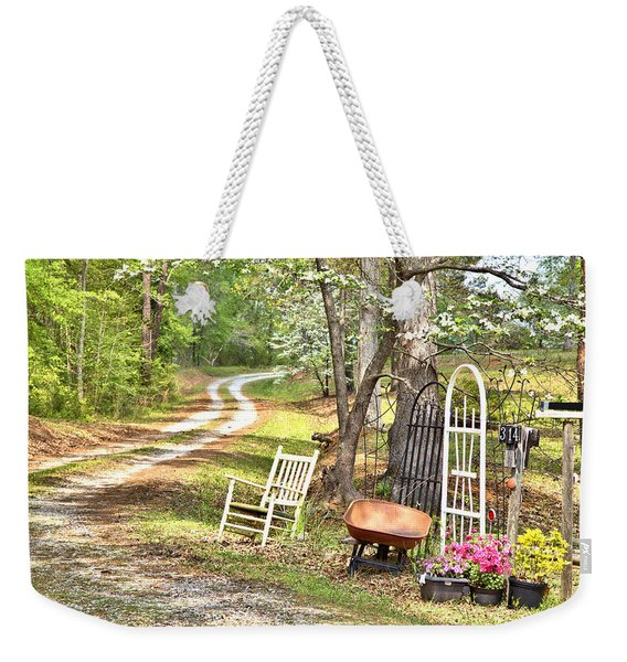 Country Driveway In Springtime Weekender Tote Bag