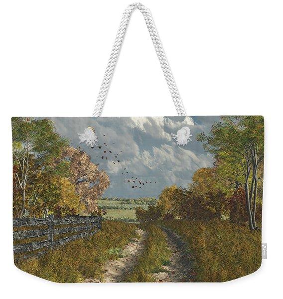 Country Lane In Fall Weekender Tote Bag