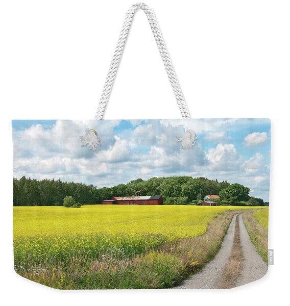 Country Road In Yellow Meadow Weekender Tote Bag