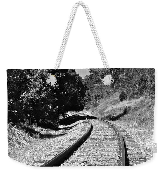 Country Tracks Black And White Weekender Tote Bag