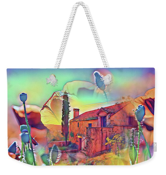 Country Villa Nestled In A Field Of Poppies Weekender Tote Bag