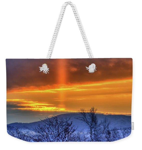 Country Winter Sun Pillar Weekender Tote Bag