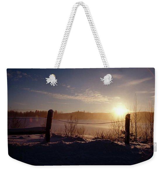 Country Winter Sunset Weekender Tote Bag