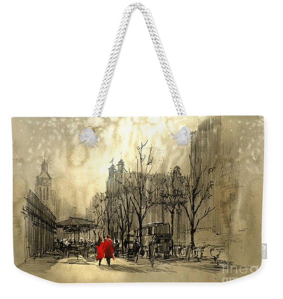Weekender Tote Bag featuring the painting Couple In City by Tithi Luadthong