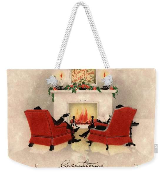 Couple Sitting Before Roaring Fireplace On Christmas Eve Weekender Tote Bag