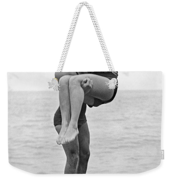 Couple Tandem Leaps Into Lake Weekender Tote Bag