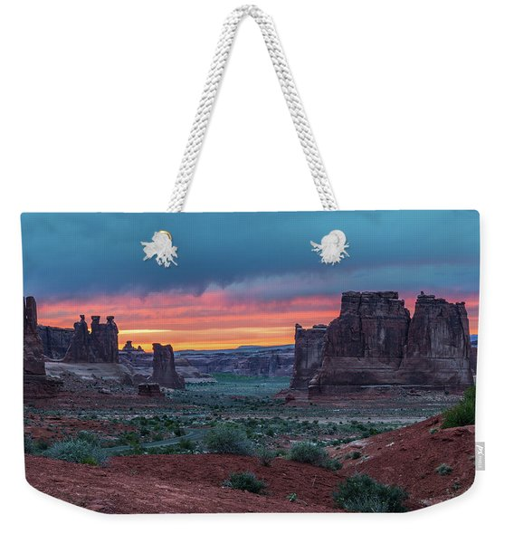 Courthouse Towers Arches National Park Weekender Tote Bag