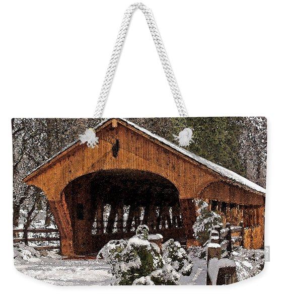 Covered Bridge At Olmsted Falls-winter-2 Weekender Tote Bag
