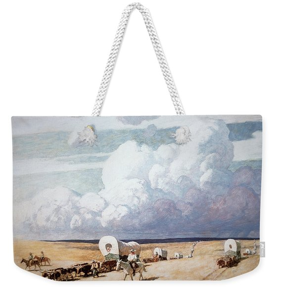 Covered Wagons Heading West Weekender Tote Bag