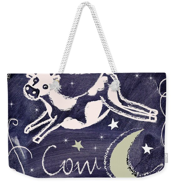 Cow Jumped Over The Moon Chalkboard Art Weekender Tote Bag