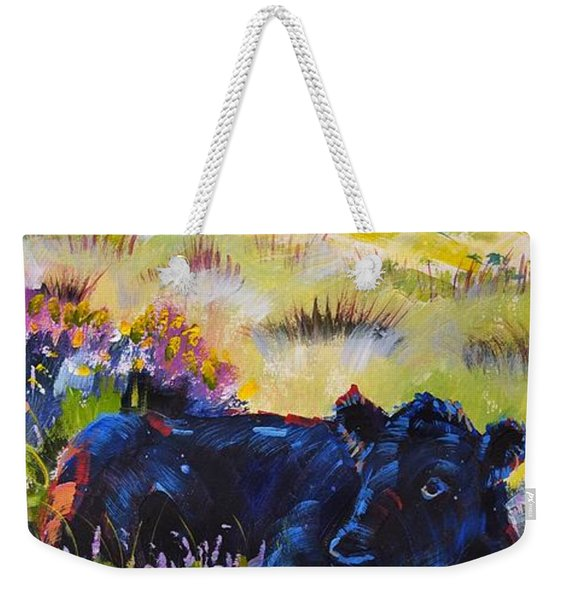 Cow Lying Down Among Plants Weekender Tote Bag