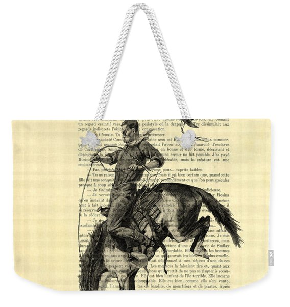 Cowboy And Horse, Western Art Weekender Tote Bag