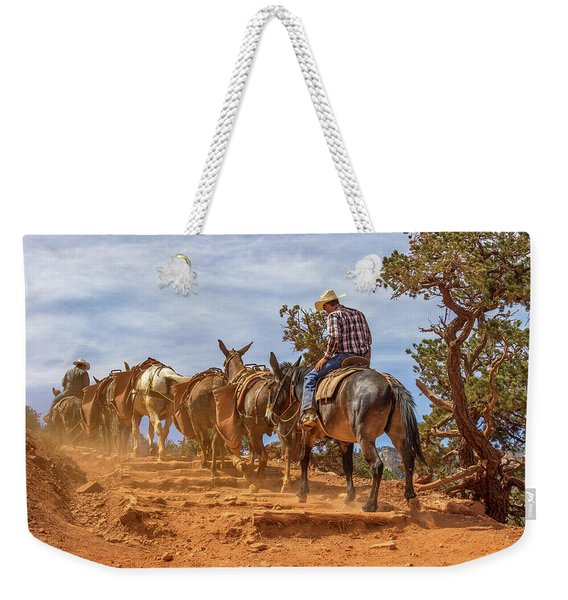 Cowboy And Mule Train On The South Kaibab Trail In The Grand Canyon Weekender Tote Bag