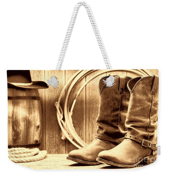 Cowboy Boots On The Deck Weekender Tote Bag