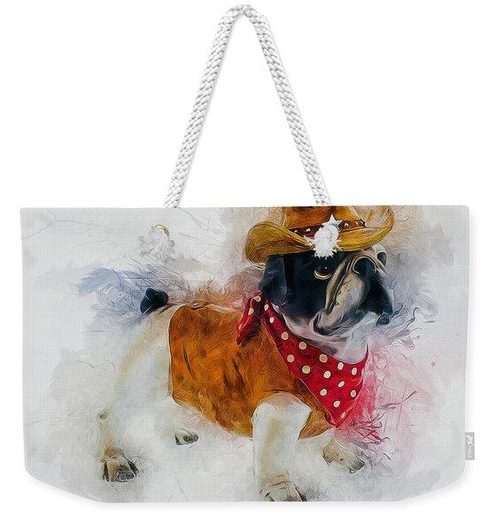 Cowboy Bulldog Weekender Tote Bag