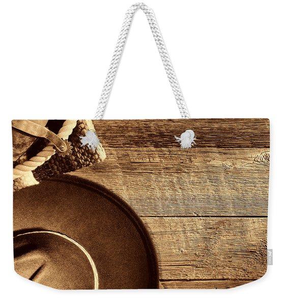 Cowboy Hat And Gear On Wood Weekender Tote Bag
