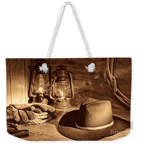 Cowboy Hat And Kerosene Lanterns Weekender Tote Bag