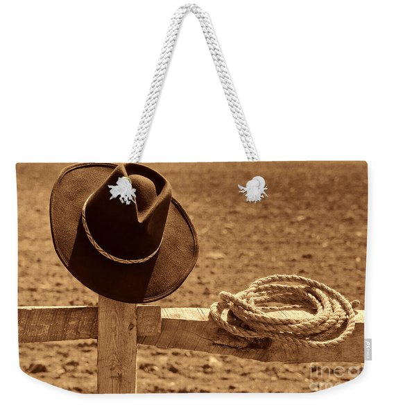 Cowboy Hat And Rope On A Fence Weekender Tote Bag