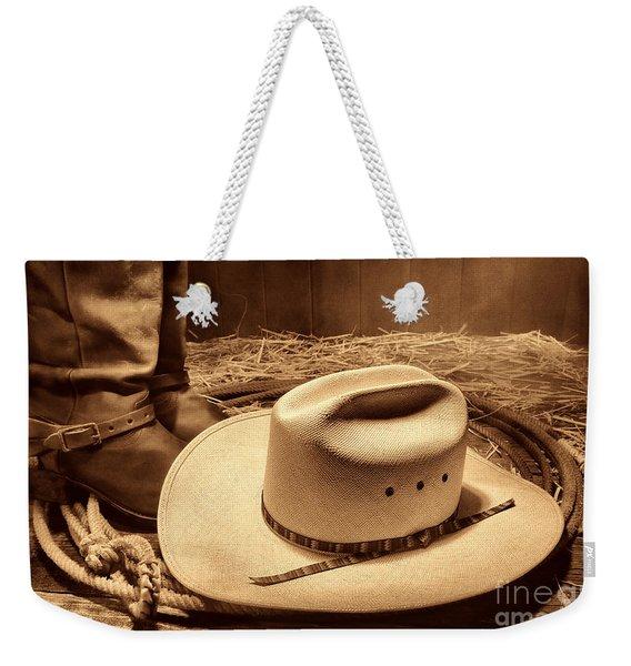 Cowboy Hat On Barn Floor Weekender Tote Bag