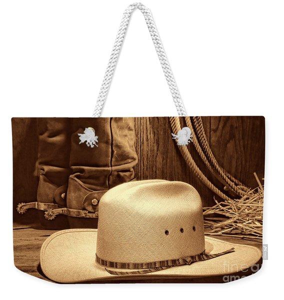 Cowboy Hat With Western Boots Weekender Tote Bag
