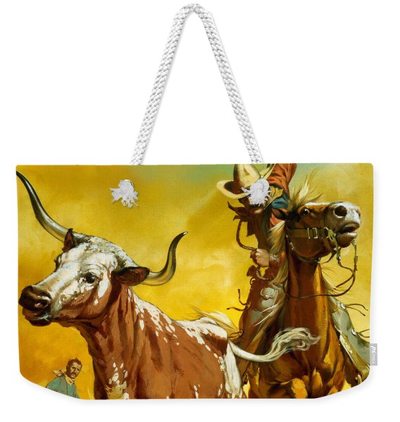 Cowboy Lassoing Cattle  Weekender Tote Bag