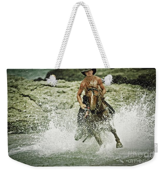 Cowboy Riding Horse Across The River Weekender Tote Bag