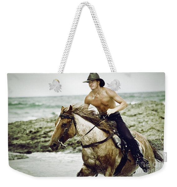 Cowboy Riding Horse On The Beach Weekender Tote Bag