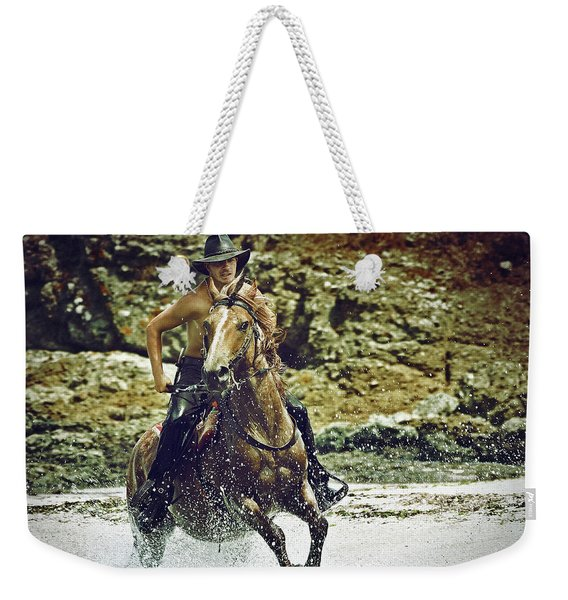 Cowboy Riding In The Sea Weekender Tote Bag