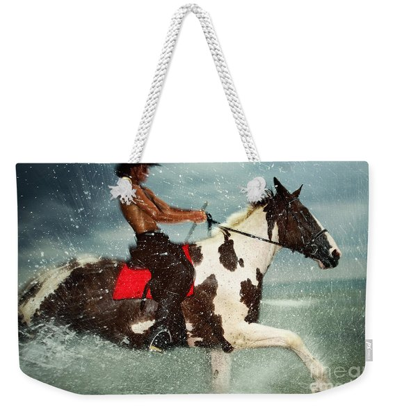 Cowboy Riding Paint Horse In The Water Weekender Tote Bag