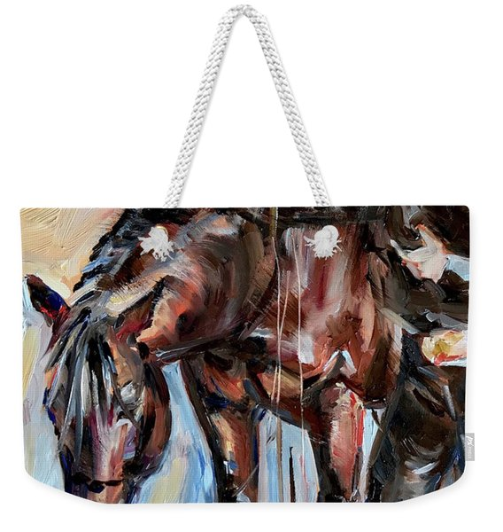 Cowboy With His Horse Weekender Tote Bag