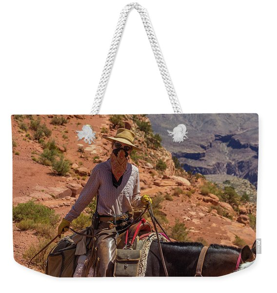 Cowgirl Leading A Mule Train On The South Kaibab Trail Weekender Tote Bag