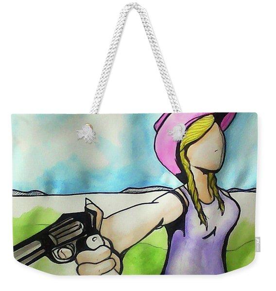 Cowgirl With Gun Weekender Tote Bag